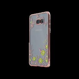 Samsung Galaxy S6 Edge Plus - Gumiran ovitek (TPUE) - roza rob - rumene rožice