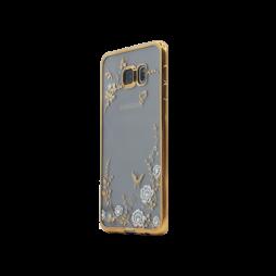 Samsung Galaxy S6 Edge Plus - Gumiran ovitek (TPUE) - zlat rob - bele rožice