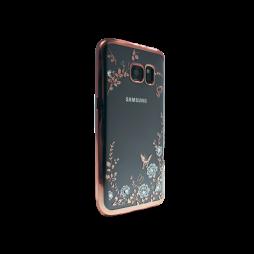Samsung Galaxy S7 Edge - Gumiran ovitek (TPUE) - roza rob - bele rožice