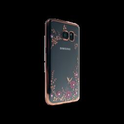Samsung Galaxy S7 Edge - Gumiran ovitek (TPUE) - roza rob - roza rožice