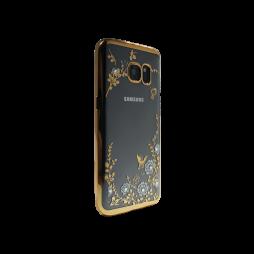 Samsung Galaxy S7 Edge - Gumiran ovitek (TPUE) - zlat rob - bele rožice