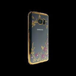 Samsung Galaxy S7 Edge - Gumiran ovitek (TPUE) - zlat rob - roza rožice