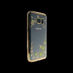 Samsung Galaxy S7 Edge - Gumiran ovitek (TPUE) - zlat rob - rumene rožice