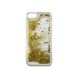 Apple iPhone 5/5S/SE - Okrasni pokrovček (polnilo srčki) - rumena