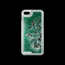 Apple iPhone 5/5S/SE - Okrasni pokrovček (polnilo srčki) - zelena