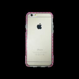 Apple iPhone 6/6S - Gumiran ovitek (TPUD) - vzorčast rob temno roza