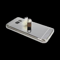 Samsung Galaxy S7 - Gumiran ovitek (TPUE) - ogledalo srebrno