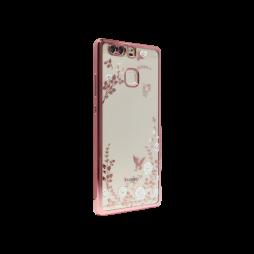 Huawei P9 - Gumiran ovitek (TPUE) - roza rob - bele rožice