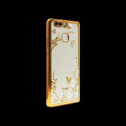 Huawei P9 - Gumiran ovitek (TPUE) - zlat rob - bele rožice