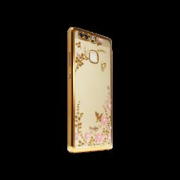 Huawei P9 - Gumiran ovitek (TPUE) - zlat rob - roza rožice