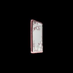 Huawei P9 Lite - Gumiran ovitek (TPUE) - roza rob - bele rožice