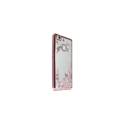 Huawei P9 Lite - Gumiran ovitek (TPUE) - roza rob - roza rožice