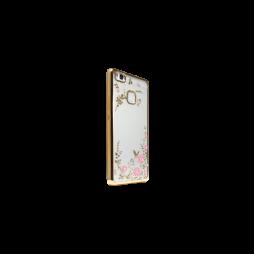 Huawei P9 Lite - Gumiran ovitek (TPUE) - zlat rob - roza rožice