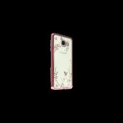 Samsung Galaxy A3 (2016) - Gumiran ovitek (TPUE) - roza rob - bele rožice
