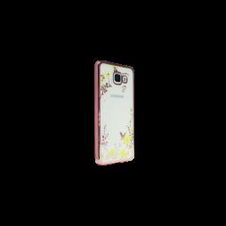 Samsung Galaxy A3 (2016) - Gumiran ovitek (TPUE) - roza rob - rumene rožice