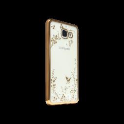 Samsung Galaxy A3 (2016) - Gumiran ovitek (TPUE) - zlat rob - bele rožice
