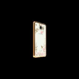 Samsung Galaxy A3 (2016) - Gumiran ovitek (TPUE) - zlat rob - roza rožice