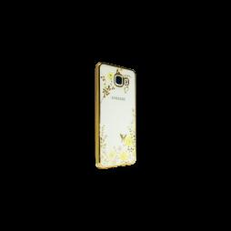 Samsung Galaxy A5 (2016) - Gumiran ovitek (TPUE) - zlat rob - rumene rožice