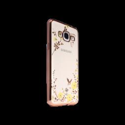 Samsung Galaxy J3 (2016) - Gumiran ovitek (TPUE) - roza rob - rumene rožice
