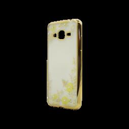 Samsung Galaxy J3 (2016) - Gumiran ovitek (TPUE) - zlat rob - rumene rožice