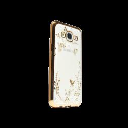Samsung Galaxy J5 - Gumiran ovitek (TPUE) - zlat rob - bele rožice