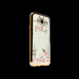 Samsung Galaxy J5 - Gumiran ovitek (TPUE) - zlat rob - roza rožice