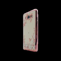 Samsung Galaxy J5 (2016) - Gumiran ovitek (TPUE) - roza rob - bele rožice
