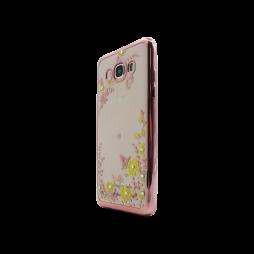 Samsung Galaxy J5 (2016) - Gumiran ovitek (TPUE) - roza rob - rumene rožice