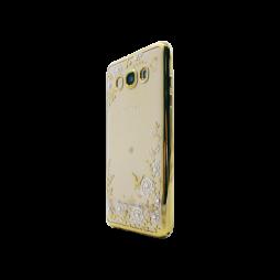 Samsung Galaxy J5 (2016) - Gumiran ovitek (TPUE) - zlat rob - bele rožice
