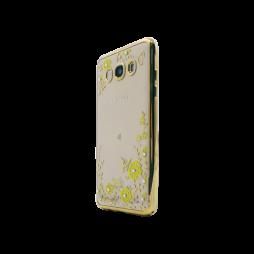 Samsung Galaxy J5 (2016) - Gumiran ovitek (TPUE) - zlat rob - rumene rožice