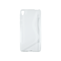Sony Xperia E5 - Gumiran ovitek (TPU) - belo-prosojen SLine
