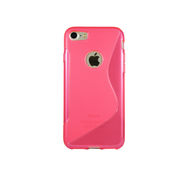 Apple iPhone 7/8 - Gumiran ovitek (TPU) - roza-prosojen SLine