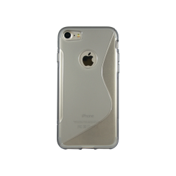 Apple iPhone 7/8 - Gumiran ovitek (TPU) - sivo-prosojen SLine