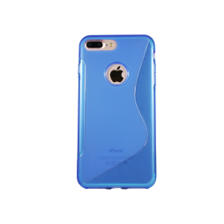 Apple iPhone 7 Plus/8 Plus - Gumiran ovitek (TPU) - modro-prosojen SLine