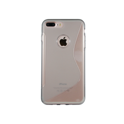 Apple iPhone 7 Plus/8 Plus - Gumiran ovitek (TPU) - sivo-prosojen SLine