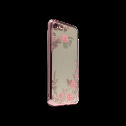 Apple iPhone 7/8 - Gumiran ovitek (TPUE) - roza rob - roza rožice