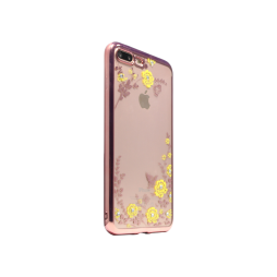 Apple iPhone 7 Plus/8 Plus- Gumiran ovitek (TPUE) - roza rob - rumene rožice