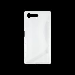 Sony Xperia X Compact - Gumiran ovitek (TPU) - belo-prosojen SLine
