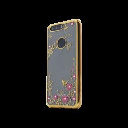 Huawei Honor 8 - Gumiran ovitek (TPUE) - zlat rob - roza rožice