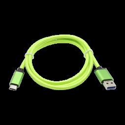 Podatkovno-polnilni kabel USB  -Type C 3.0 - zelen, najlon