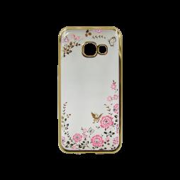 Samsung Galaxy A3 (2017) - Gumiran ovitek (TPUE) - zlat rob - roza rožice