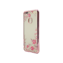 Huawei P10 Lite - Gumiran ovitek (TPUE) - roza rob - roza rožice