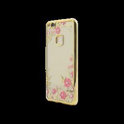 Huawei P10 Lite - Gumiran ovitek (TPUE) - zlat rob - roza rožice