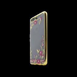 Huawei P10 Plus - Gumiran ovitek (TPUE) - zlat rob - roza rožice