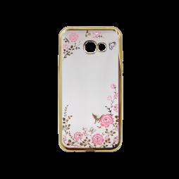 Samsung Galaxy A5 (2017) - Gumiran ovitek (TPUE) - zlat rob - roza rožice