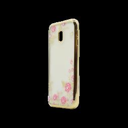 Samsung Galaxy J3 (2017) - Gumiran ovitek (TPUE) - zlat rob - roza rožice