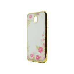 Samsung Galaxy J5 (2017) - Gumiran ovitek (TPUE) - zlat rob - roza rožice