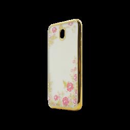 Samsung Galaxy J7 (2017) - Gumiran ovitek (TPUE) - zlat rob - roza rožice