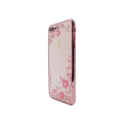 Apple iPhone 7 Plus/8 Plus - Gumiran ovitek (TPUDE) - roza rob - roza rožice