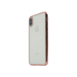 Apple iPhone X / XS - Gumiran ovitek (TPUE) - rob roza-zlat